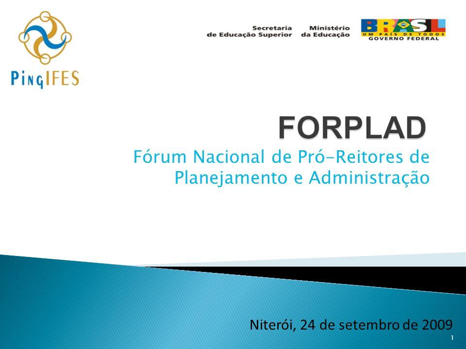 Fórum Nacional de Pró-Reitores de Planejamento e Administração 1 Niterói, 24 de setembro de 2009