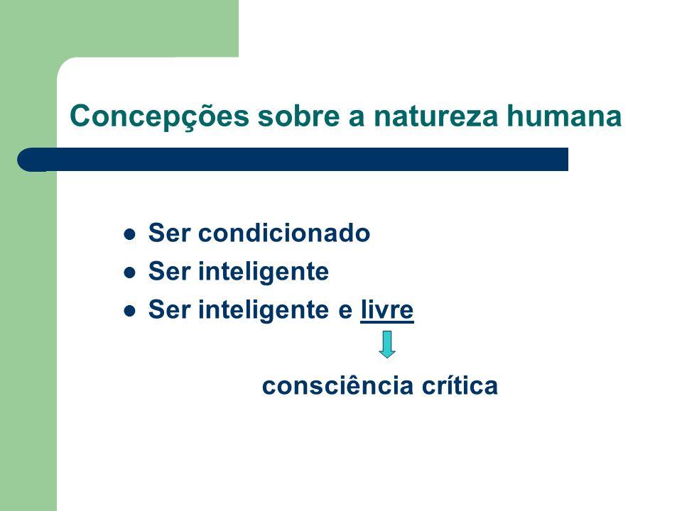 Concepções sobre a natureza humana Ser condicionado Ser inteligente Ser inteligente e livre consciência crítica