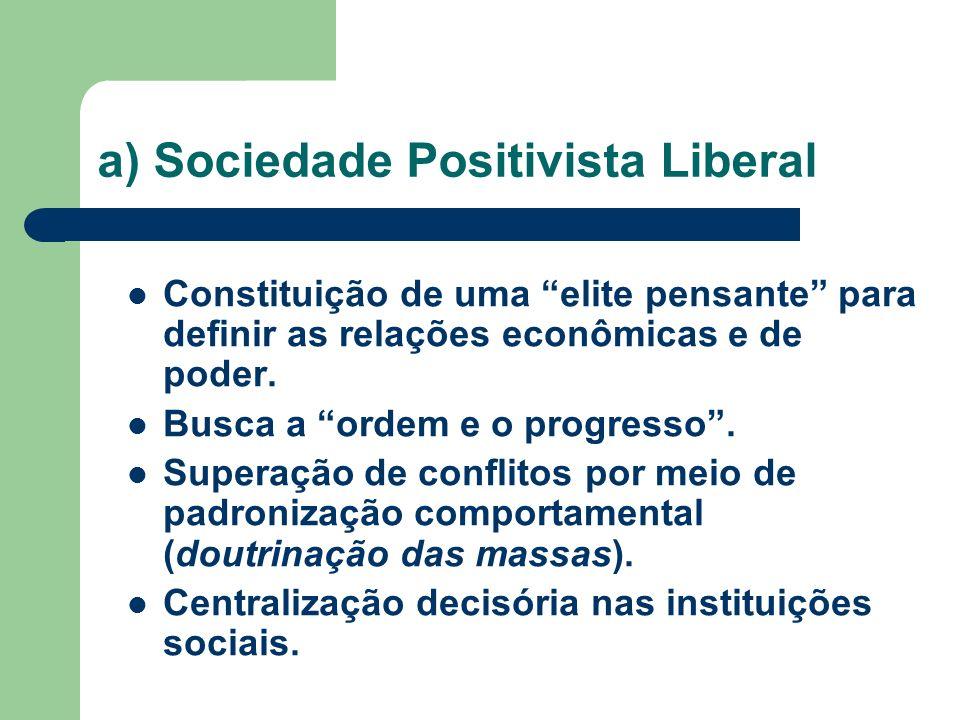 a) Sociedade Positivista Liberal Constituição de uma elite pensante para definir as relações econômicas e de poder. Busca a ordem e o progresso. Super