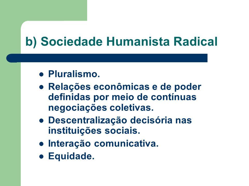 b) Sociedade Humanista Radical Pluralismo. Relações econômicas e de poder definidas por meio de contínuas negociações coletivas. Descentralização deci