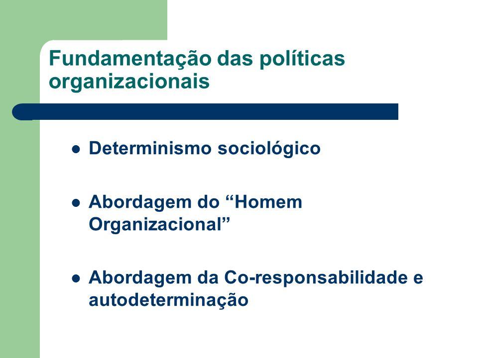 Fundamentação das políticas organizacionais Determinismo sociológico Abordagem do Homem Organizacional Abordagem da Co-responsabilidade e autodetermin