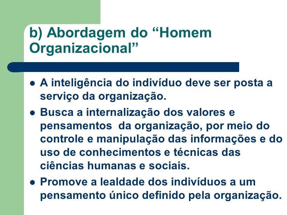 b) Abordagem do Homem Organizacional A inteligência do indivíduo deve ser posta a serviço da organização. Busca a internalização dos valores e pensame