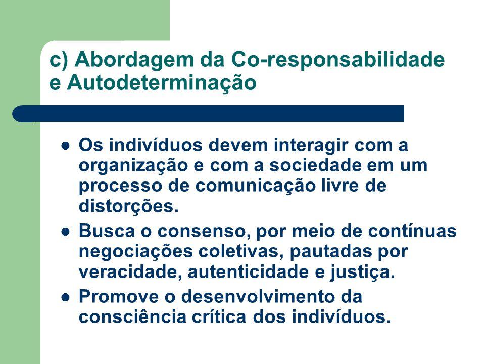 c) Abordagem da Co-responsabilidade e Autodeterminação Os indivíduos devem interagir com a organização e com a sociedade em um processo de comunicação