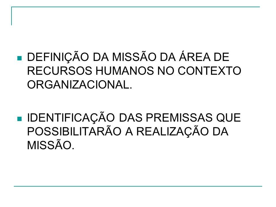 DEFINIÇÃO DA MISSÃO DA ÁREA DE RECURSOS HUMANOS NO CONTEXTO ORGANIZACIONAL. IDENTIFICAÇÃO DAS PREMISSAS QUE POSSIBILITARÃO A REALIZAÇÃO DA MISSÃO.