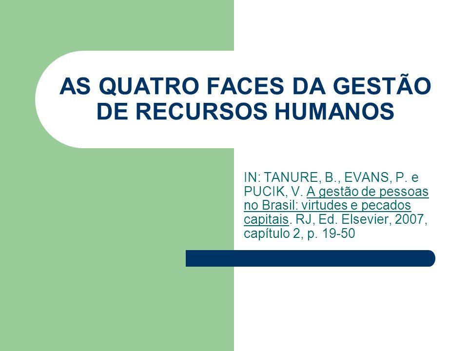 AS QUATRO FACES DA GESTÃO DE RECURSOS HUMANOS IN: TANURE, B., EVANS, P. e PUCIK, V. A gestão de pessoas no Brasil: virtudes e pecados capitais. RJ, Ed