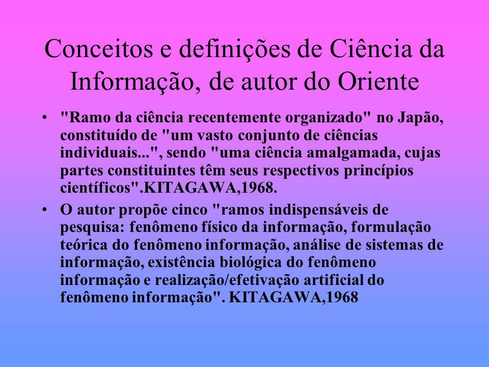 Conceitos e definições de Ciência da Informação, de autor do Oriente Ramo da ciência recentemente organizado no Japão, constituído de um vasto conjunto de ciências individuais... , sendo uma ciência amalgamada, cujas partes constituintes têm seus respectivos princípios científicos .KITAGAWA,1968.
