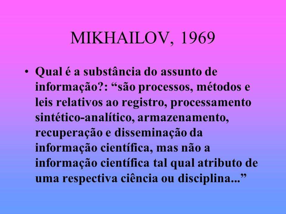MIKHAILOV, 1969 Qual é a substância do assunto de informação : são processos, métodos e leis relativos ao registro, processamento sintético-analítico, armazenamento, recuperação e disseminação da informação científica, mas não a informação científica tal qual atributo de uma respectiva ciência ou disciplina...