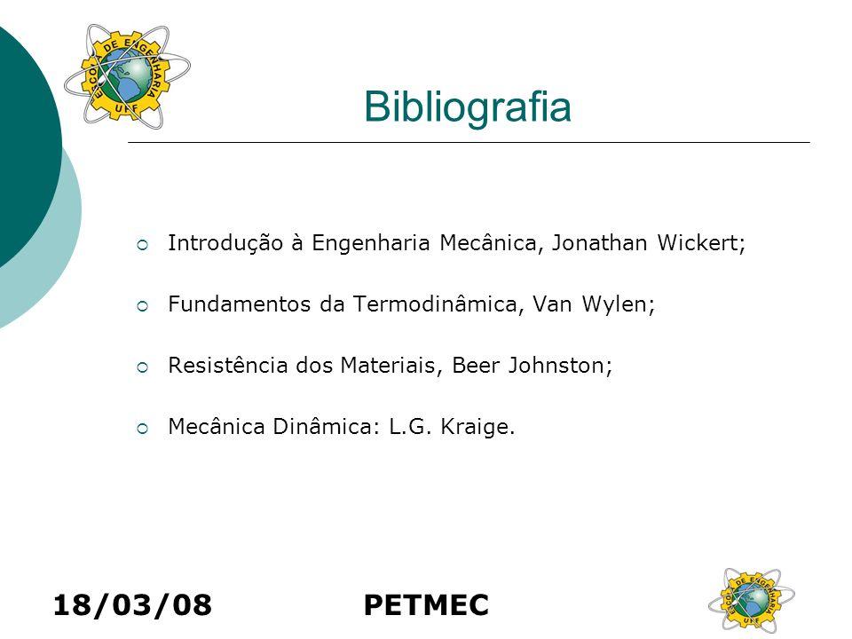 18/03/08PETMEC Bibliografia Introdução à Engenharia Mecânica, Jonathan Wickert; Fundamentos da Termodinâmica, Van Wylen; Resistência dos Materiais, Be