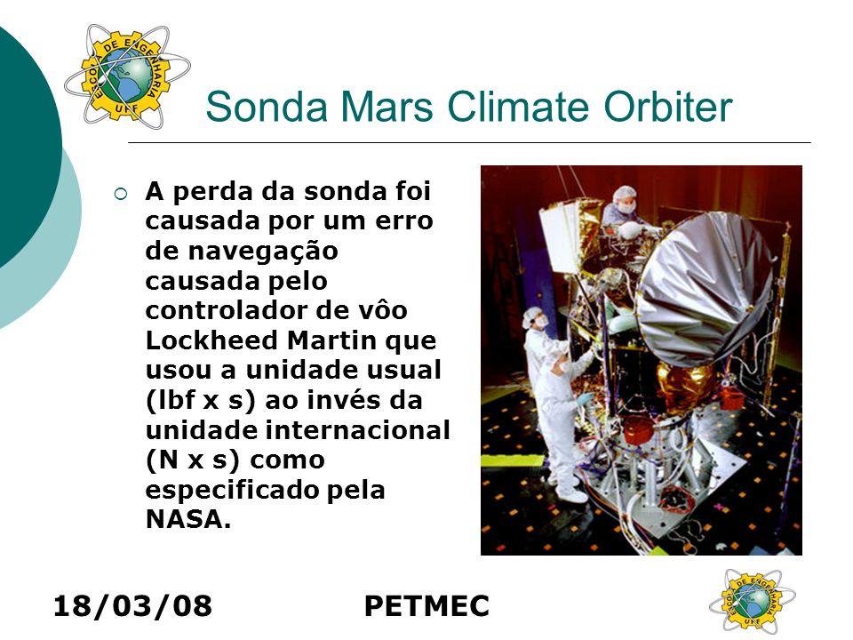 18/03/08PETMEC Sonda Mars Climate Orbiter A perda da sonda foi causada por um erro de navegação causada pelo controlador de vôo Lockheed Martin que us