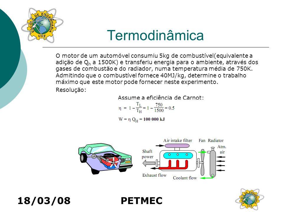 18/03/08PETMEC Termodinâmica O motor de um automóvel consumiu 5kg de combustível(equivalente a adição de Q h a 1500K) e transferiu energia para o ambi