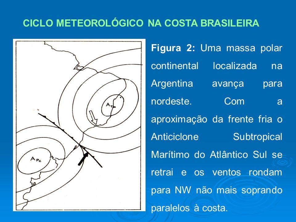 CICLO METEOROLÓGICO NA COSTA BRASILEIRA Figura 2: Uma massa polar continental localizada na Argentina avança para nordeste.