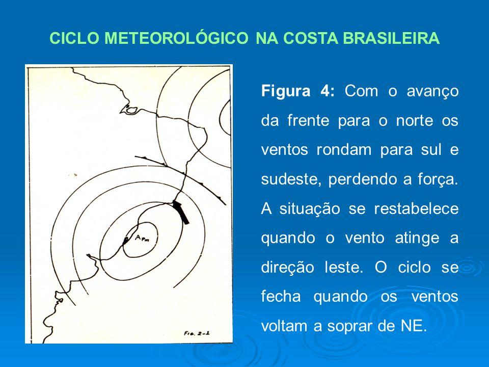 CICLO METEOROLÓGICO NA COSTA BRASILEIRA Figura 4: Com o avanço da frente para o norte os ventos rondam para sul e sudeste, perdendo a força.