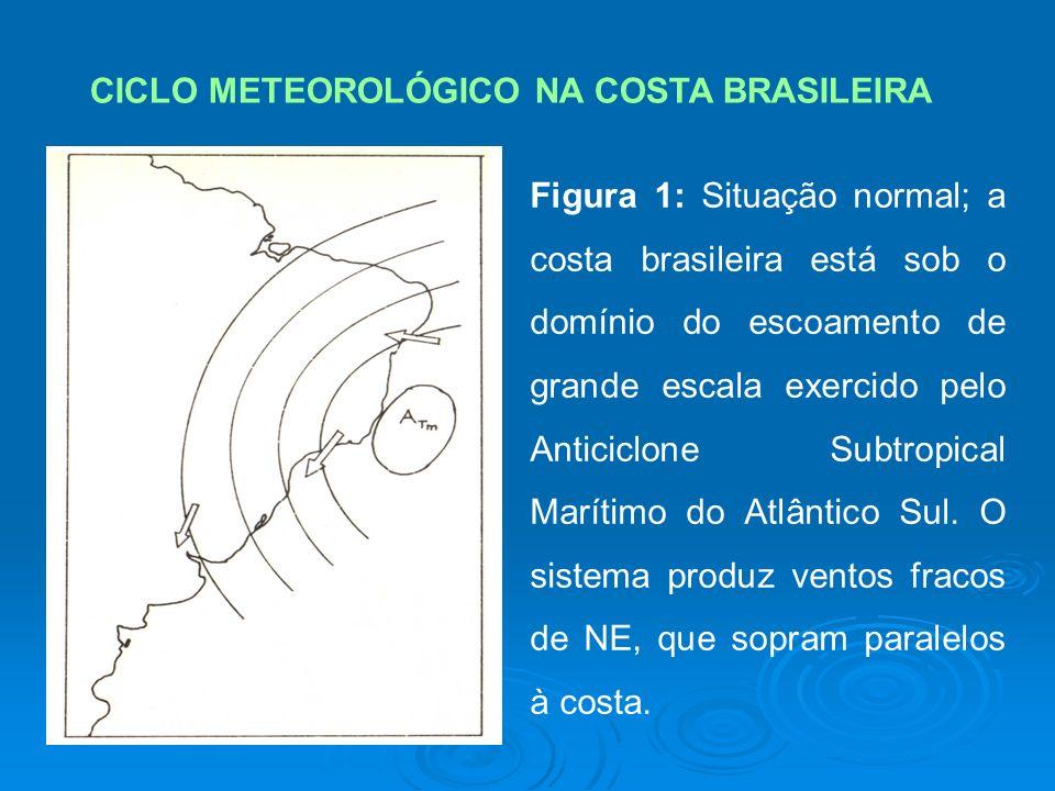 CICLO METEOROLÓGICO NA COSTA BRASILEIRA Figura 1: Situação normal; a costa brasileira está sob o domínio do escoamento de grande escala exercido pelo Anticiclone Subtropical Marítimo do Atlântico Sul.