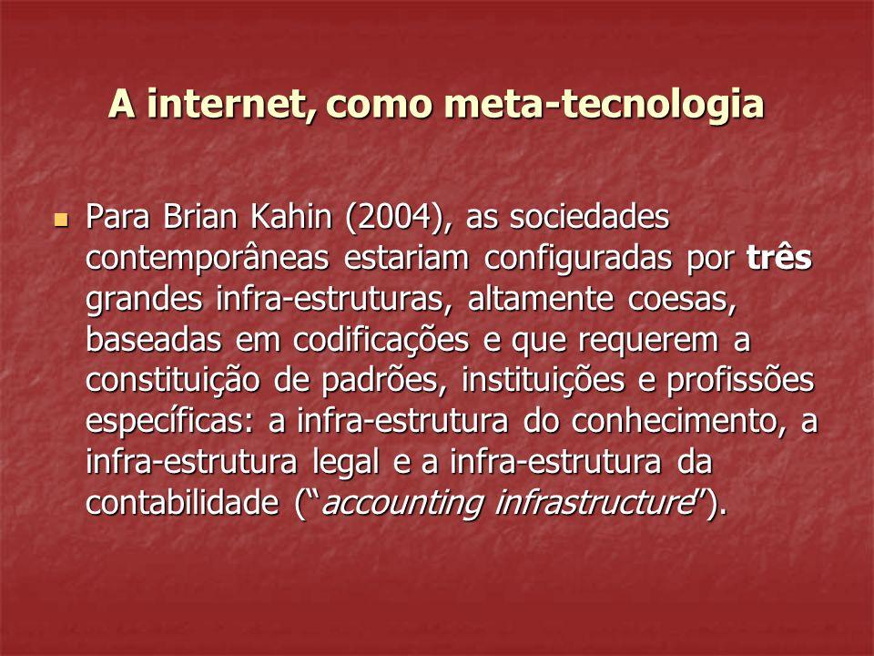 A internet, como meta-tecnologia Para Brian Kahin (2004), as sociedades contemporâneas estariam configuradas por três grandes infra-estruturas, altamente coesas, baseadas em codificações e que requerem a constituição de padrões, instituições e profissões específicas: a infra-estrutura do conhecimento, a infra-estrutura legal e a infra-estrutura da contabilidade (accounting infrastructure).