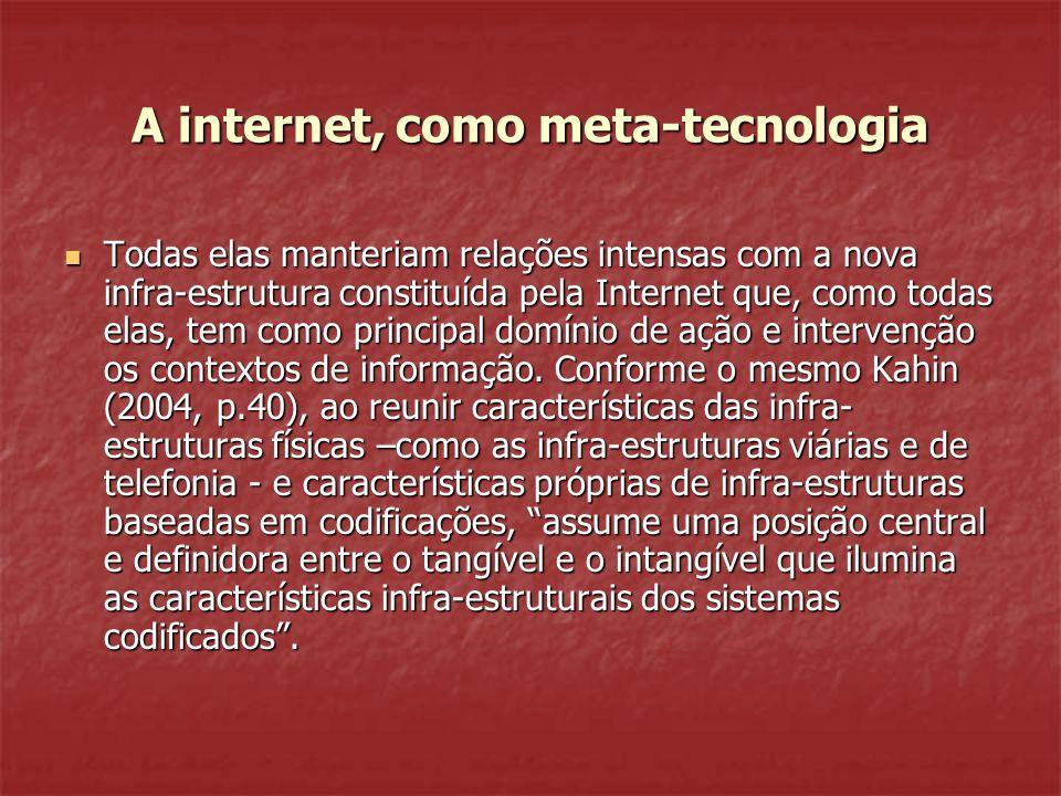 A internet, como meta-tecnologia Todas elas manteriam relações intensas com a nova infra-estrutura constituída pela Internet que, como todas elas, tem como principal domínio de ação e intervenção os contextos de informação.