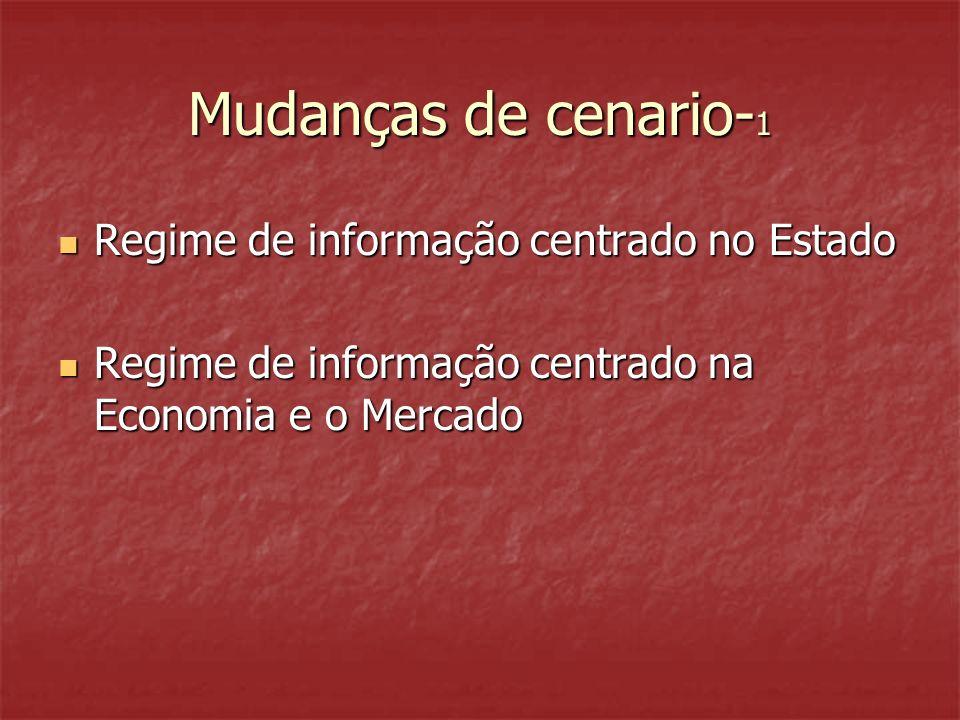 Mudanças de cenario- 1 Regime de informação centrado no Estado Regime de informação centrado no Estado Regime de informação centrado na Economia e o Mercado Regime de informação centrado na Economia e o Mercado