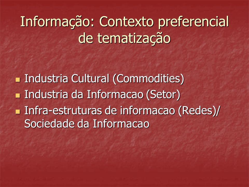 Informação: Contexto preferencial de tematização Industria Cultural (Commodities) Industria Cultural (Commodities) Industria da Informacao (Setor) Industria da Informacao (Setor) Infra-estruturas de informacao (Redes)/ Sociedade da Informacao Infra-estruturas de informacao (Redes)/ Sociedade da Informacao