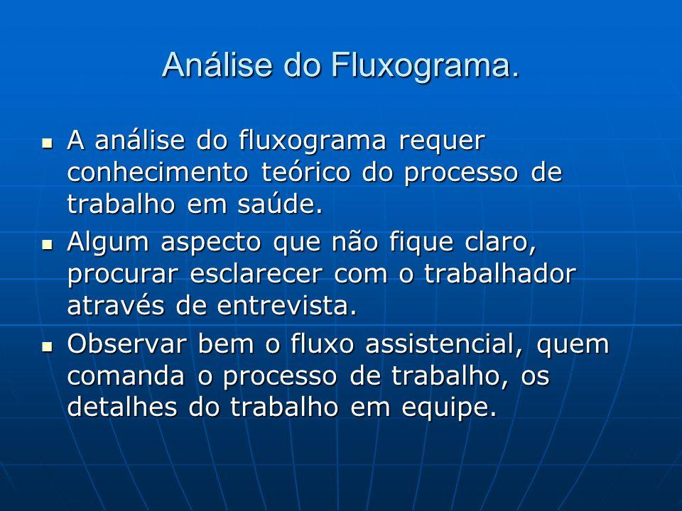 Análise do Fluxograma. A análise do fluxograma requer conhecimento teórico do processo de trabalho em saúde. A análise do fluxograma requer conhecimen