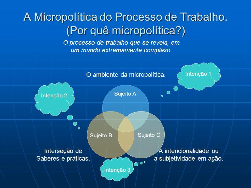 A Micropolítica do Processo de Trabalho. (Por quê micropolítica?) O ambiente da micropolítica. A intencionalidade ou a subjetividade em ação. Interseç