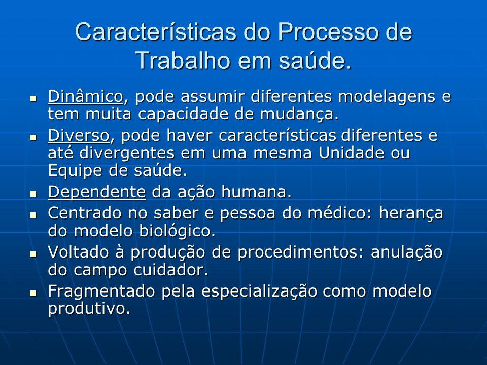 Características do Processo de Trabalho em saúde. Dinâmico, pode assumir diferentes modelagens e tem muita capacidade de mudança. Dinâmico, pode assum
