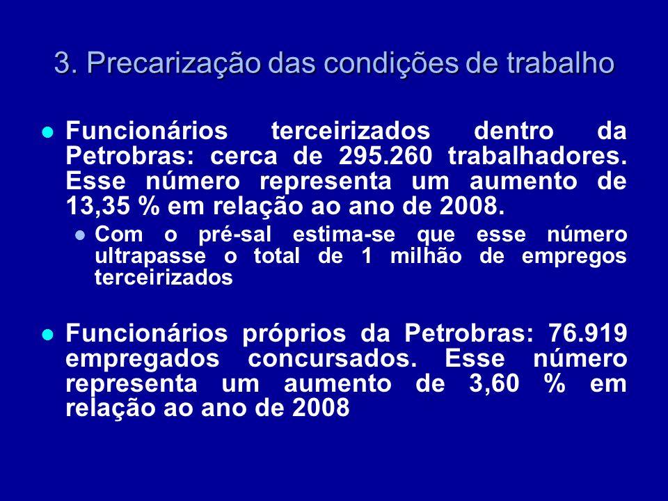 3. Precarização das condições de trabalho Funcionários terceirizados dentro da Petrobras: cerca de 295.260 trabalhadores. Esse número representa um au