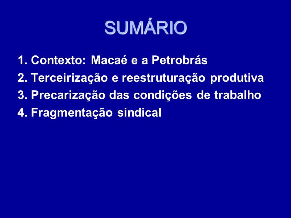 SUMÁRIO 1. Contexto: Macaé e a Petrobrás 2. Terceirização e reestruturação produtiva 3. Precarização das condições de trabalho 4. Fragmentação sindica