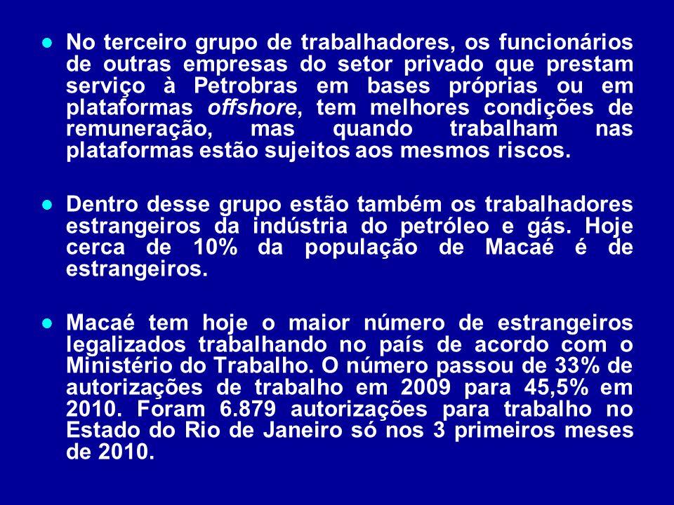 No terceiro grupo de trabalhadores, os funcionários de outras empresas do setor privado que prestam serviço à Petrobras em bases próprias ou em plataf
