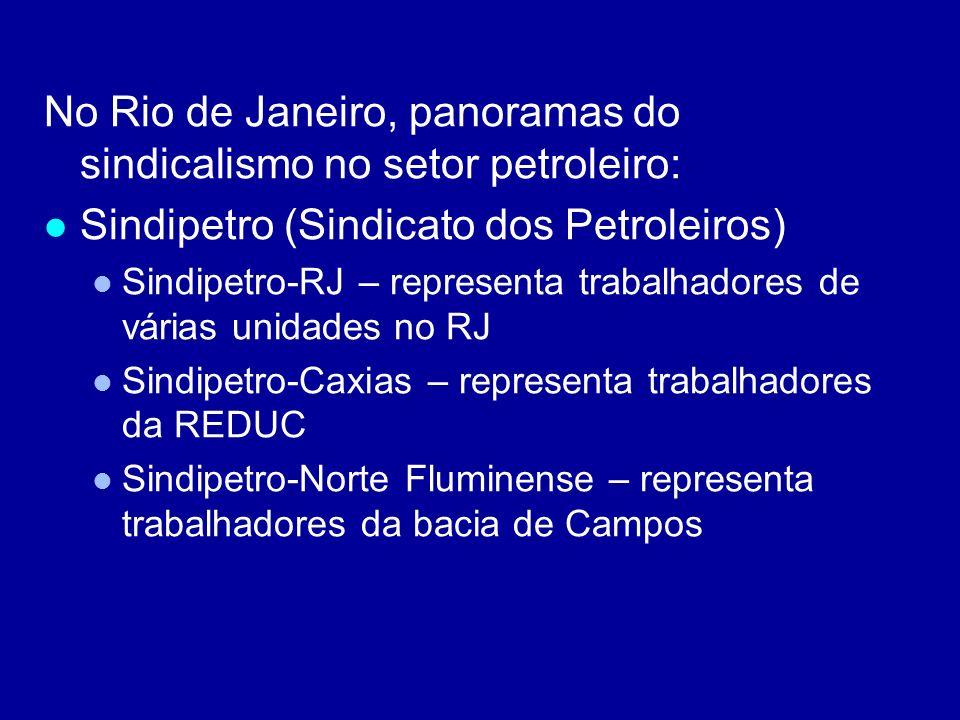 No Rio de Janeiro, panoramas do sindicalismo no setor petroleiro: Sindipetro (Sindicato dos Petroleiros) Sindipetro-RJ – representa trabalhadores de v