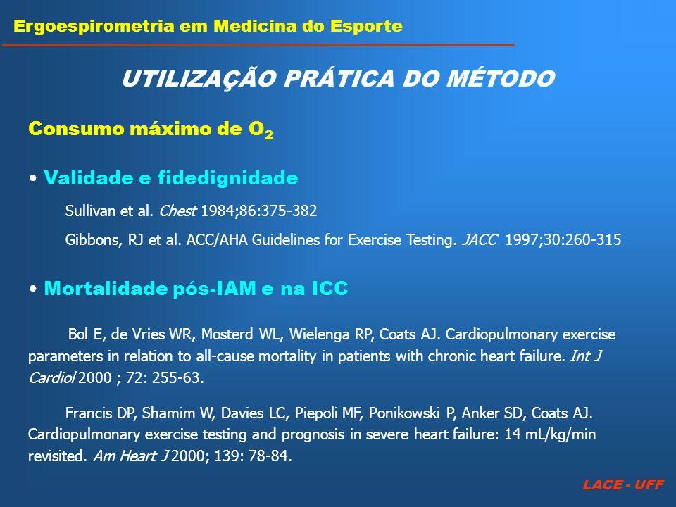 Mortalidade pós-IAM e na ICC Bol E, de Vries WR, Mosterd WL, Wielenga RP, Coats AJ. Cardiopulmonary exercise parameters in relation to all-cause morta