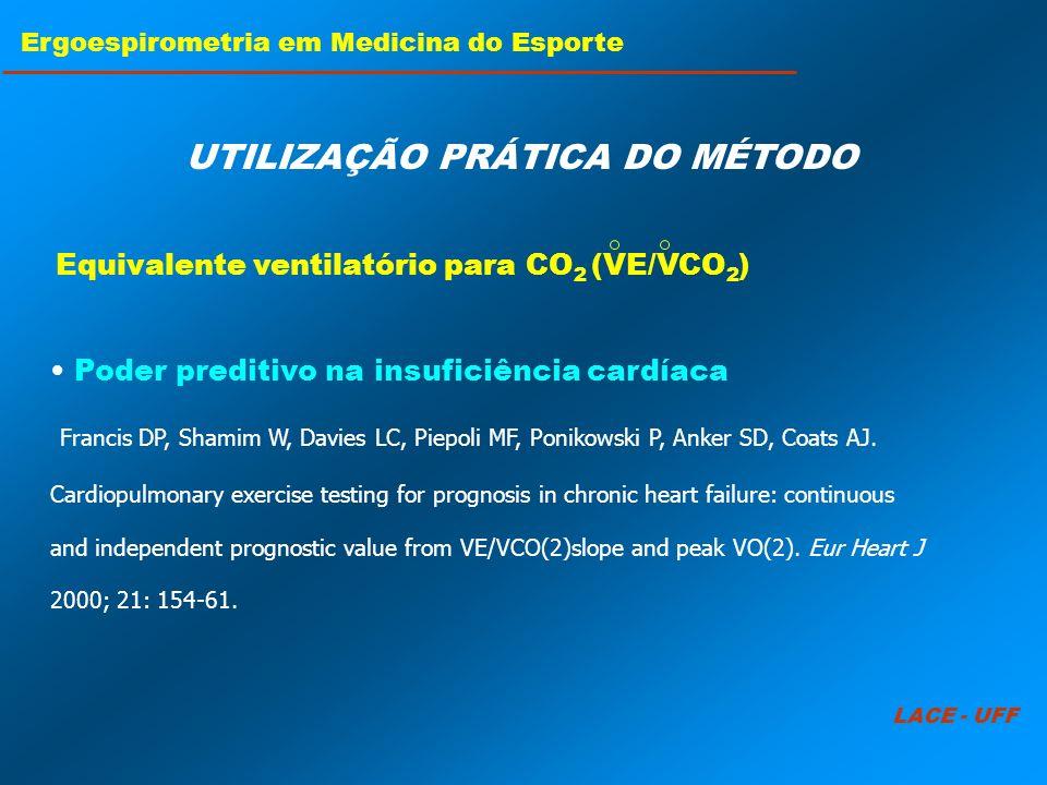 LACE - UFF Ergoespirometria em Medicina do Esporte UTILIZAÇÃO PRÁTICA DO MÉTODO Poder preditivo na insuficiência cardíaca Francis DP, Shamim W, Davies