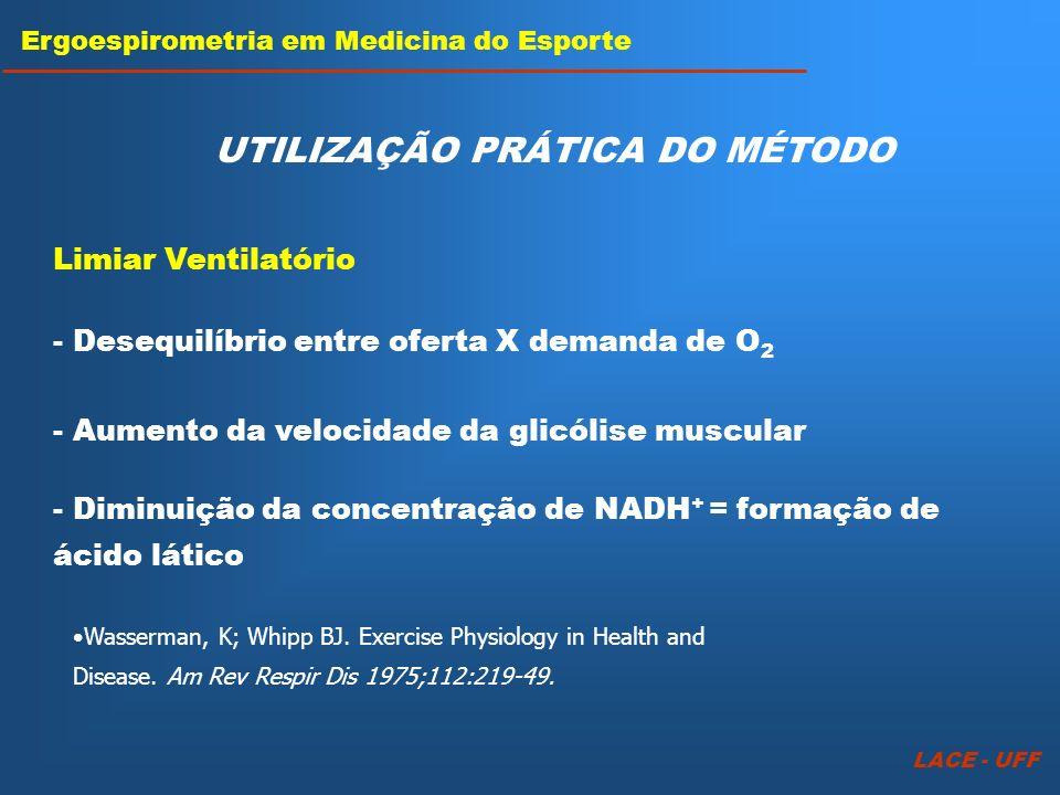 LACE - UFF Ergoespirometria em Medicina do Esporte UTILIZAÇÃO PRÁTICA DO MÉTODO Limiar Ventilatório - Aumento da velocidade da glicólise muscular - De