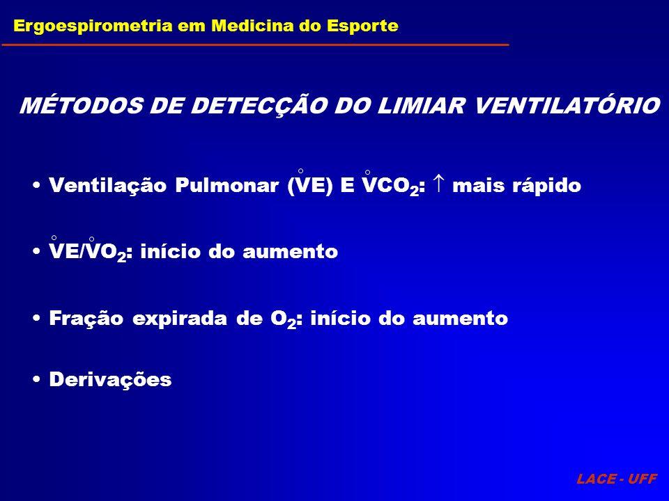 LACE - UFF Ergoespirometria em Medicina do Esporte MÉTODOS DE DETECÇÃO DO LIMIAR VENTILATÓRIO Fração expirada de O 2 : início do aumento Derivações Ve