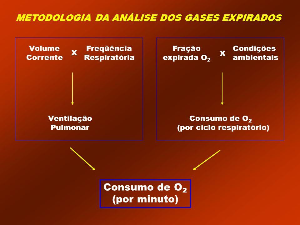 Ventilação Pulmonar Consumo de O 2 (por ciclo respiratório) Volume Corrente Freqüência Respiratória X Fração expirada O 2 Condições ambientais X Consu