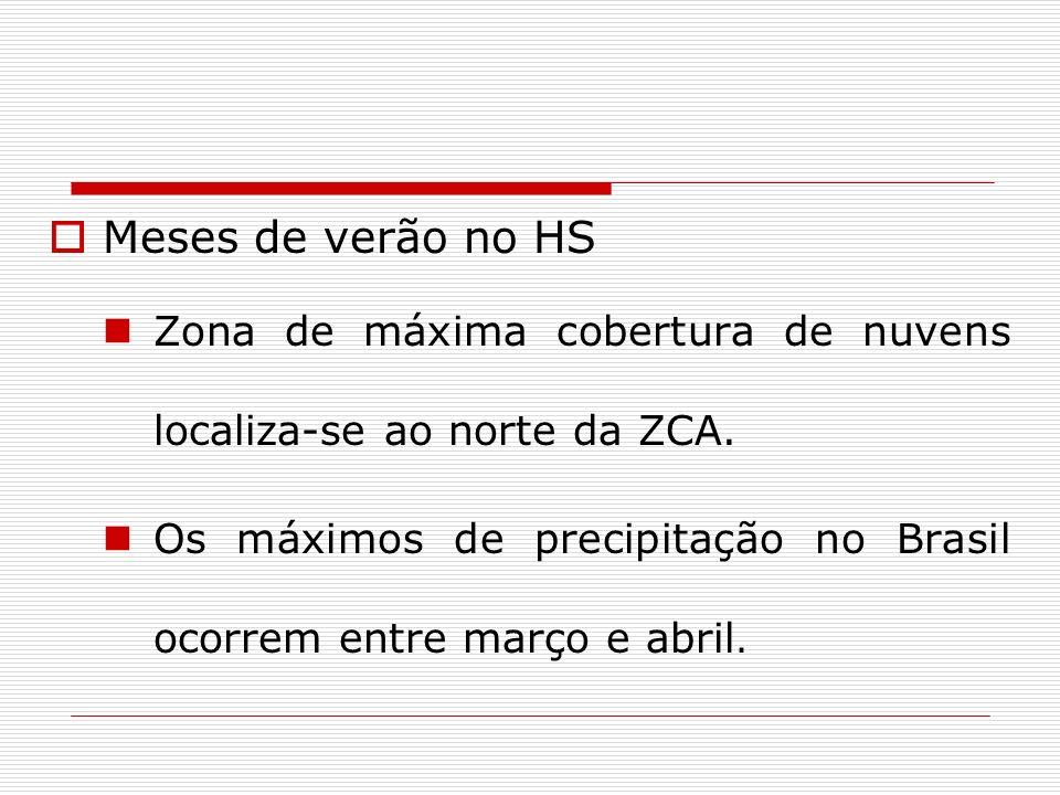 Meses de verão no HS Zona de máxima cobertura de nuvens localiza-se ao norte da ZCA. Os máximos de precipitação no Brasil ocorrem entre março e abril.