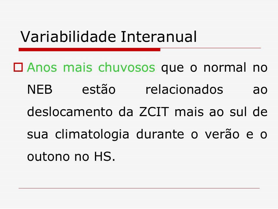Variabilidade Interanual Anos mais chuvosos que o normal no NEB estão relacionados ao deslocamento da ZCIT mais ao sul de sua climatologia durante o v