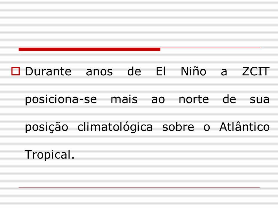 Durante anos de El Niño a ZCIT posiciona-se mais ao norte de sua posição climatológica sobre o Atlântico Tropical.