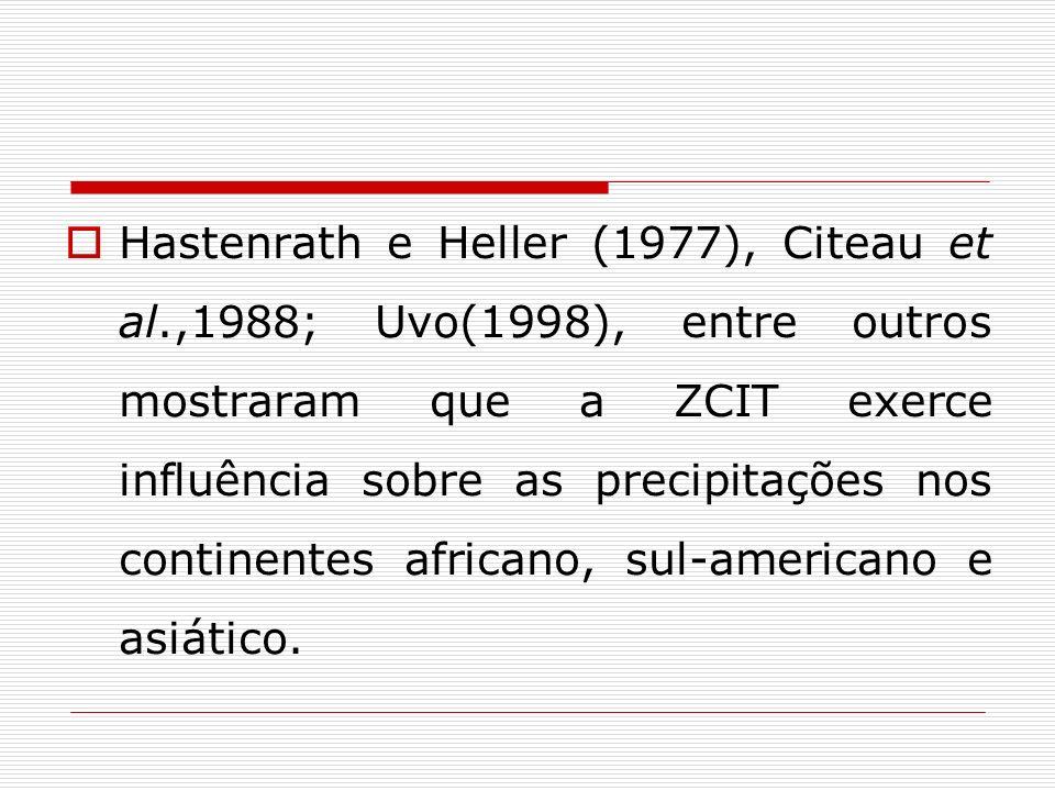 Hastenrath e Heller (1977), Citeau et al.,1988; Uvo(1998), entre outros mostraram que a ZCIT exerce influência sobre as precipitações nos continentes