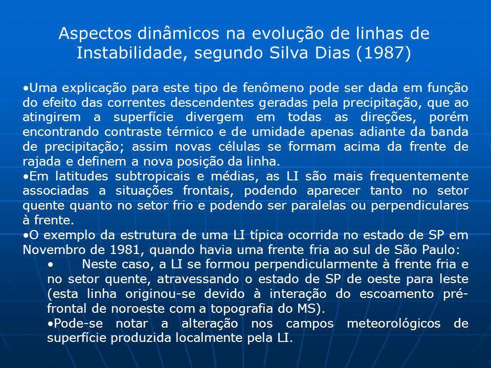 Aspectos dinâmicos na evolução de linhas de Instabilidade, segundo Silva Dias (1987) Uma explicação para este tipo de fenômeno pode ser dada em função