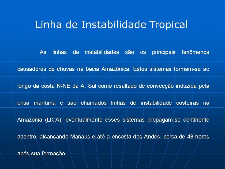 As linhas de instabilidades são os principais fenômenos causadores de chuvas na bacia Amazônica. Estes sistemas formam-se ao longo da costa N-NE da A.