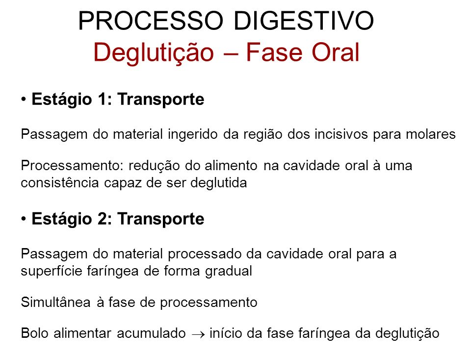 PROCESSO DIGESTIVO Deglutição – Fase Oral Estágio 1: Transporte Passagem do material ingerido da região dos incisivos para molares Processamento: redu