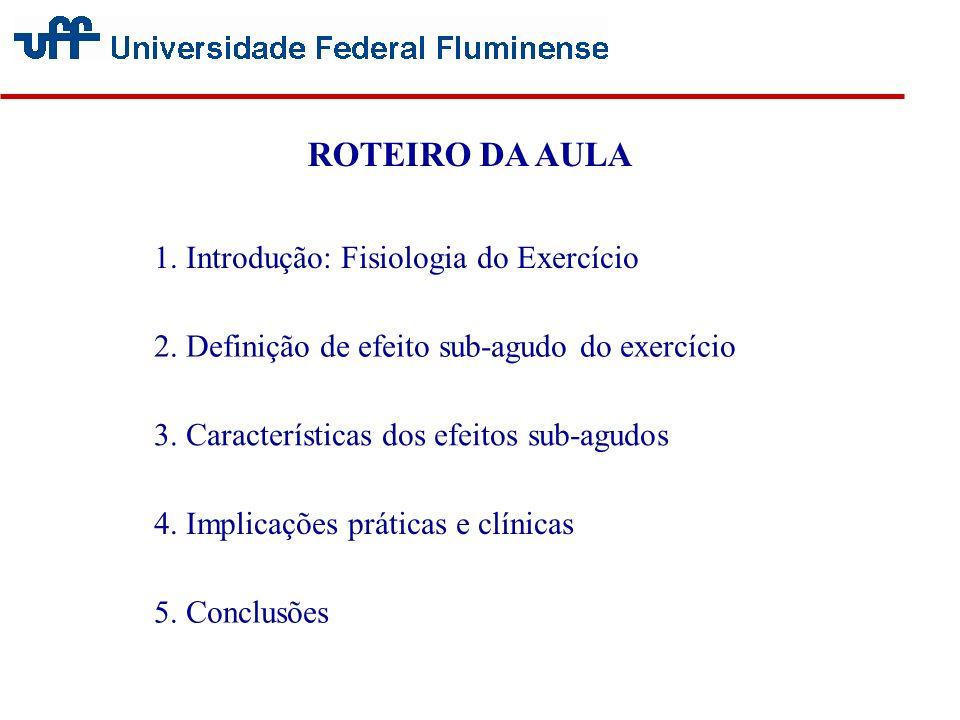 ROTEIRO DA AULA 1. Introdução: Fisiologia do Exercício 2. Definição de efeito sub-agudo do exercício 3. Características dos efeitos sub-agudos 4. Impl