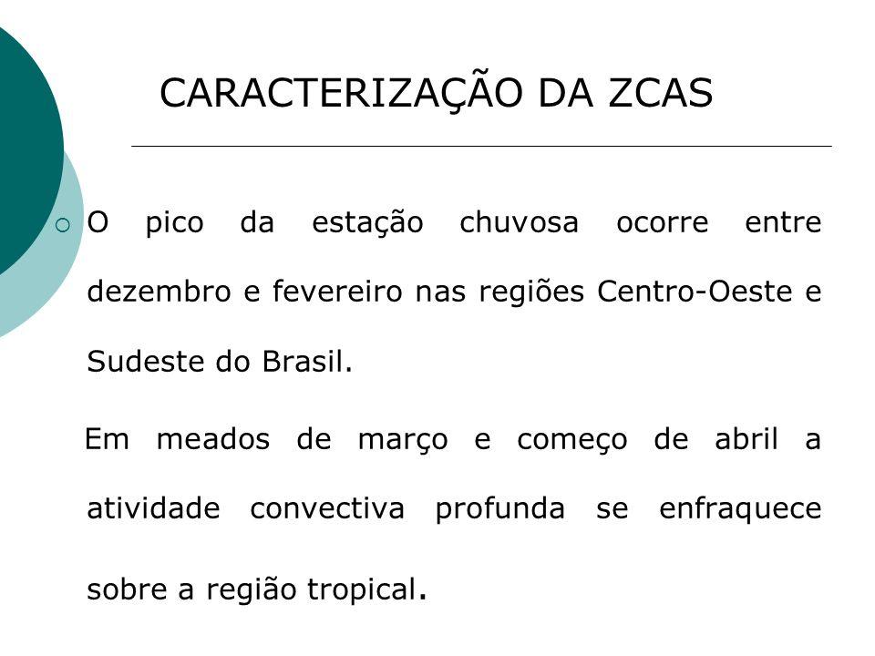 CARACTERIZAÇÃO DA ZCAS O pico da estação chuvosa ocorre entre dezembro e fevereiro nas regiões Centro-Oeste e Sudeste do Brasil. Em meados de março e