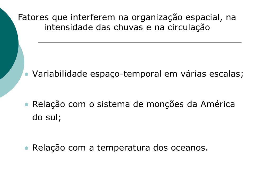Variabilidade espaço-temporal em várias escalas; Relação com o sistema de monções da América do sul; Relação com a temperatura dos oceanos. Fatores qu