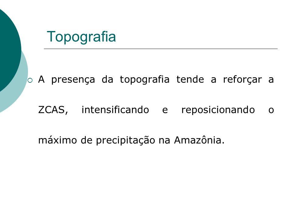 Topografia A presença da topografia tende a reforçar a ZCAS, intensificando e reposicionando o máximo de precipitação na Amazônia.