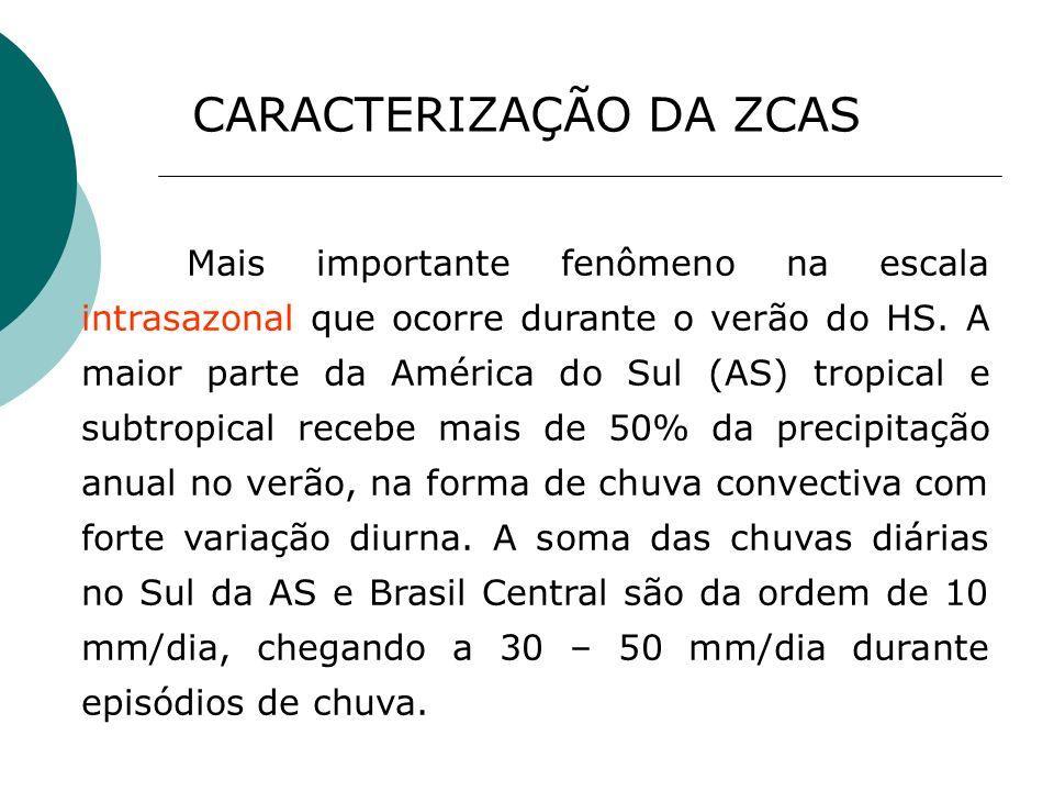 Mais importante fenômeno na escala intrasazonal que ocorre durante o verão do HS. A maior parte da América do Sul (AS) tropical e subtropical recebe m