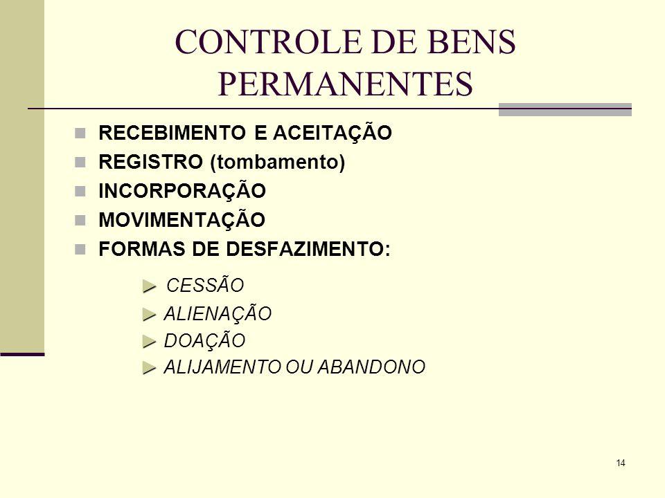 14 CONTROLE DE BENS PERMANENTES RECEBIMENTO E ACEITAÇÃO REGISTRO (tombamento) INCORPORAÇÃO MOVIMENTAÇÃO FORMAS DE DESFAZIMENTO: CESSÃO ALIENAÇÃO DOAÇÃ