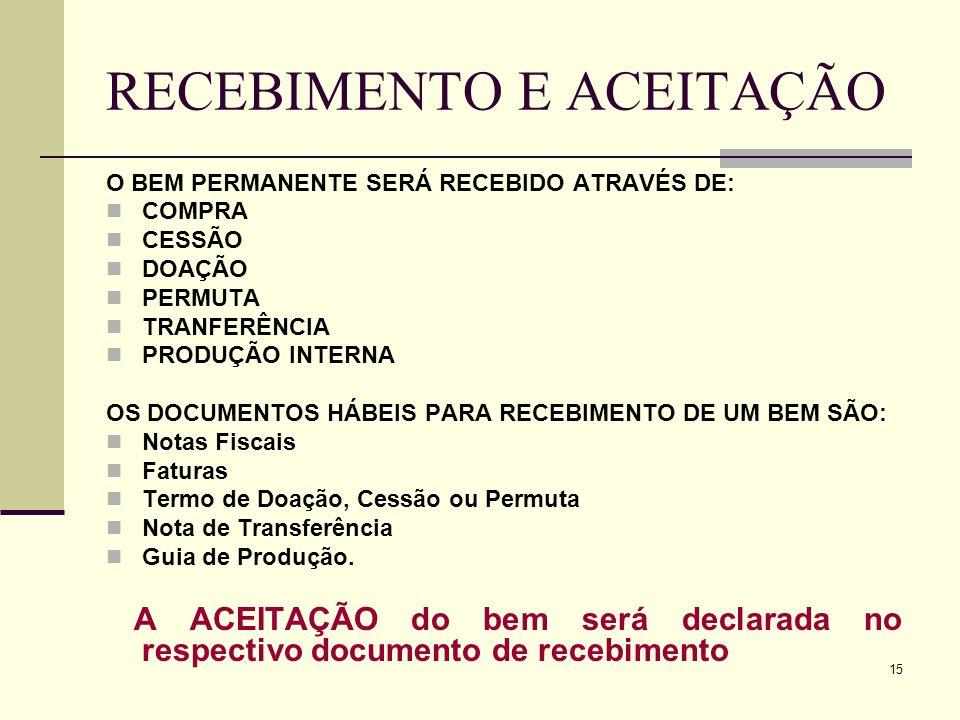 15 RECEBIMENTO E ACEITAÇÃO O BEM PERMANENTE SERÁ RECEBIDO ATRAVÉS DE: COMPRA CESSÃO DOAÇÃO PERMUTA TRANFERÊNCIA PRODUÇÃO INTERNA OS DOCUMENTOS HÁBEIS