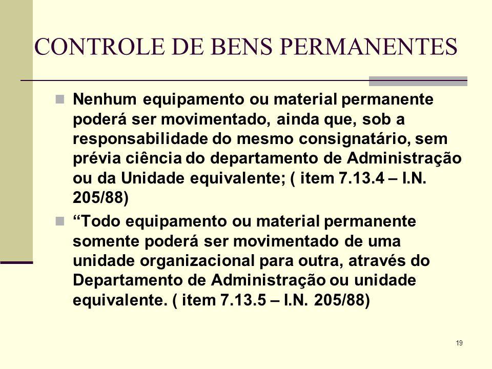19 CONTROLE DE BENS PERMANENTES Nenhum equipamento ou material permanente poderá ser movimentado, ainda que, sob a responsabilidade do mesmo consignat