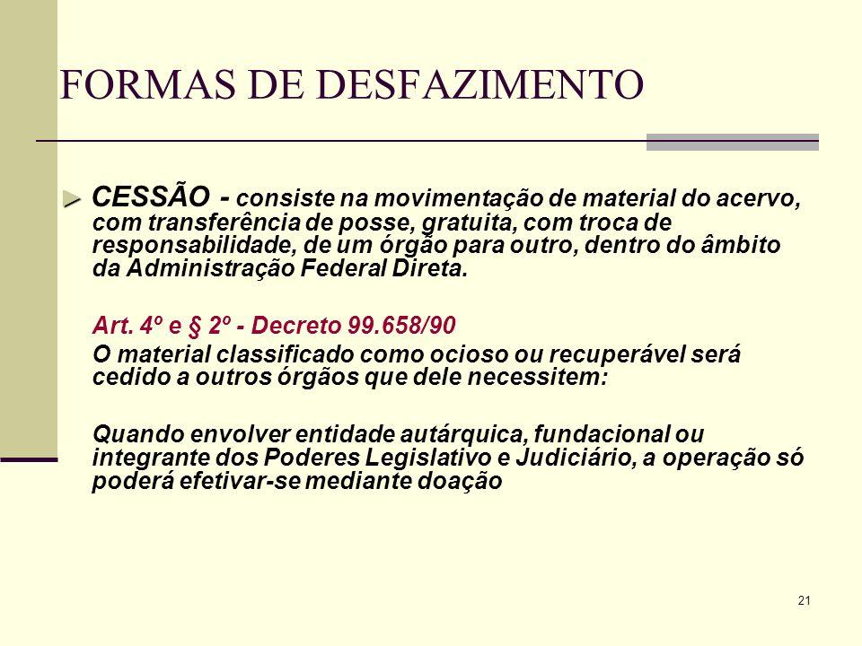 21 FORMAS DE DESFAZIMENTO CESSÃO - consiste na movimentação de material do acervo, com transferência de posse, gratuita, com troca de responsabilidade