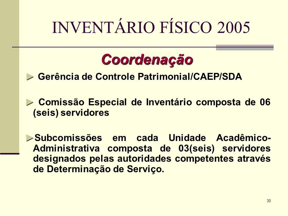 30 INVENTÁRIO FÍSICO 2005 Coordenação Gerência de Controle Patrimonial/CAEP/SDA Gerência de Controle Patrimonial/CAEP/SDA Comissão Especial de Inventá